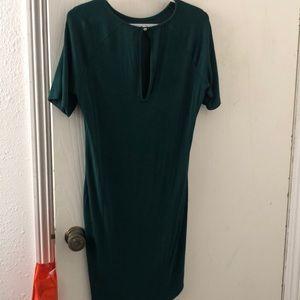 H&M dark green dress, mid knee